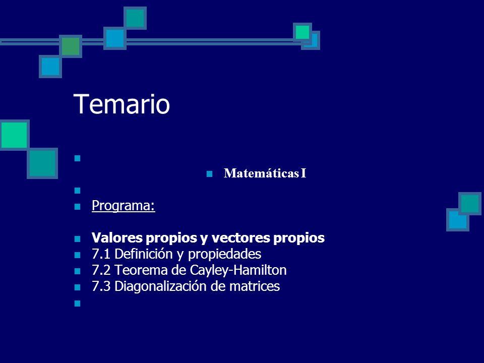 Temario Matemáticas I Programa: Valores propios y vectores propios