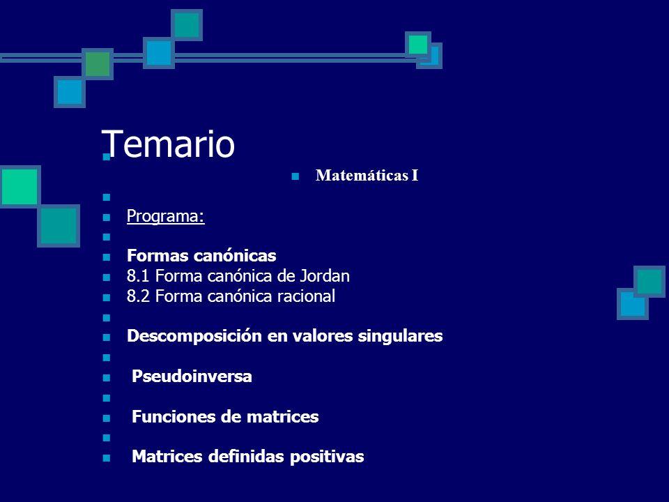 Temario Matemáticas I Programa: Formas canónicas