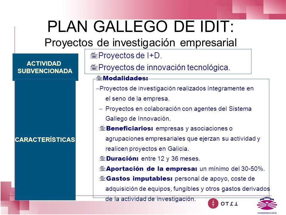 PLAN GALLEGO DE IDIT: Proyectos de investigación empresarial