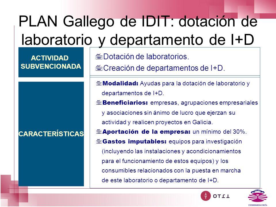 PLAN Gallego de IDIT: dotación de laboratorio y departamento de I+D