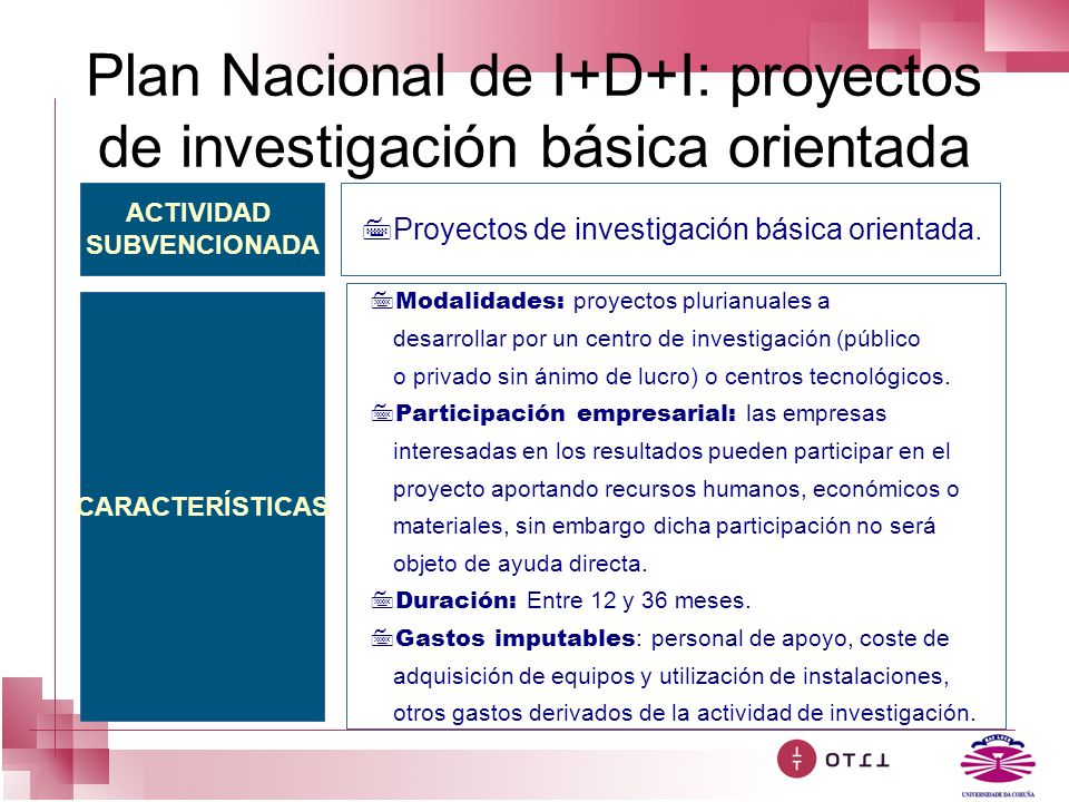 Plan Nacional de I+D+I: proyectos de investigación básica orientada