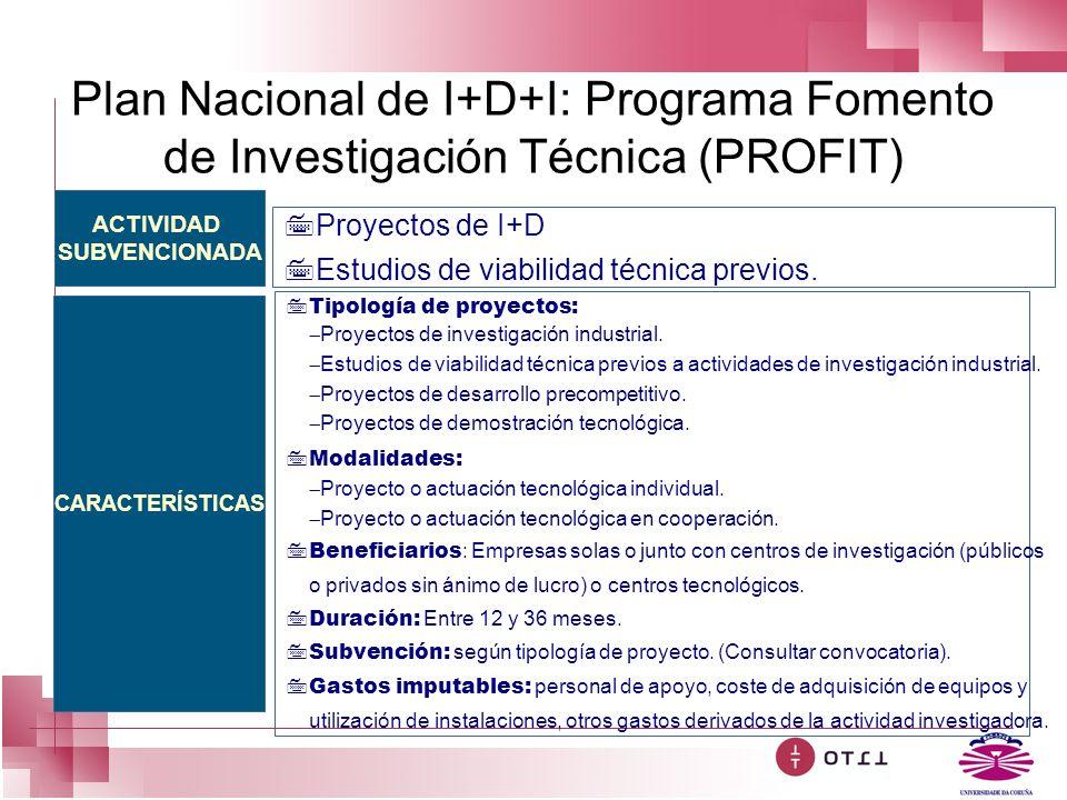 Plan Nacional de I+D+I: Programa Fomento de Investigación Técnica (PROFIT)