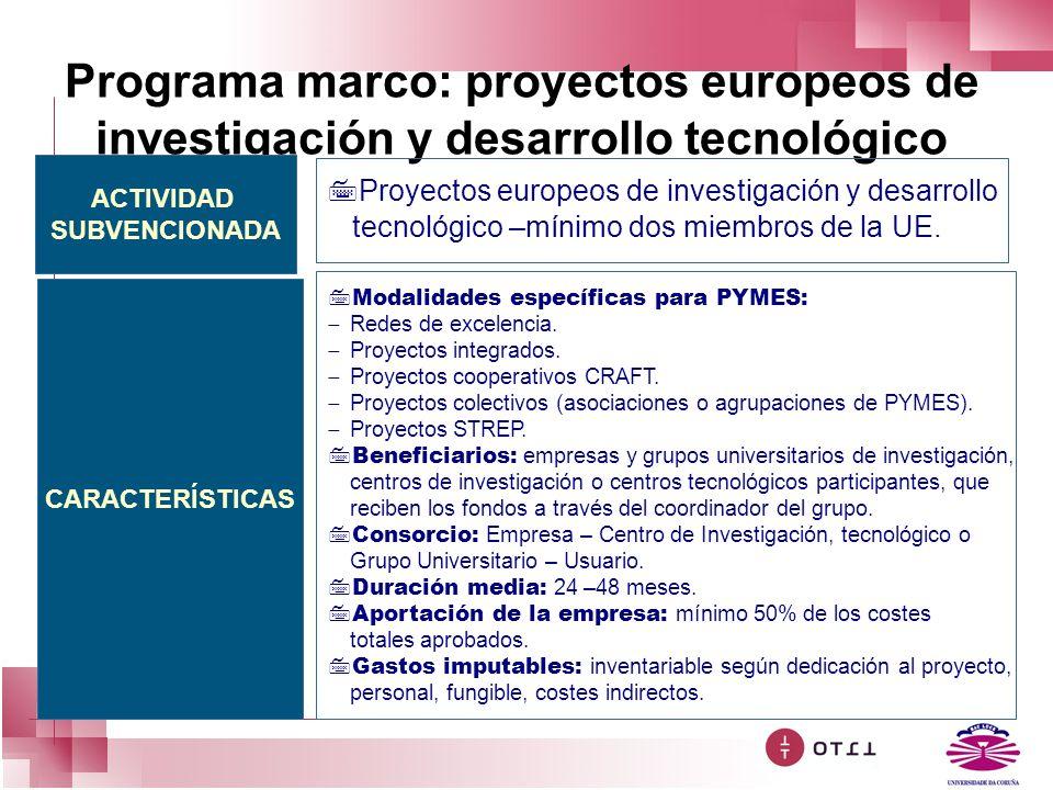Programa marco: proyectos europeos de investigación y desarrollo tecnológico