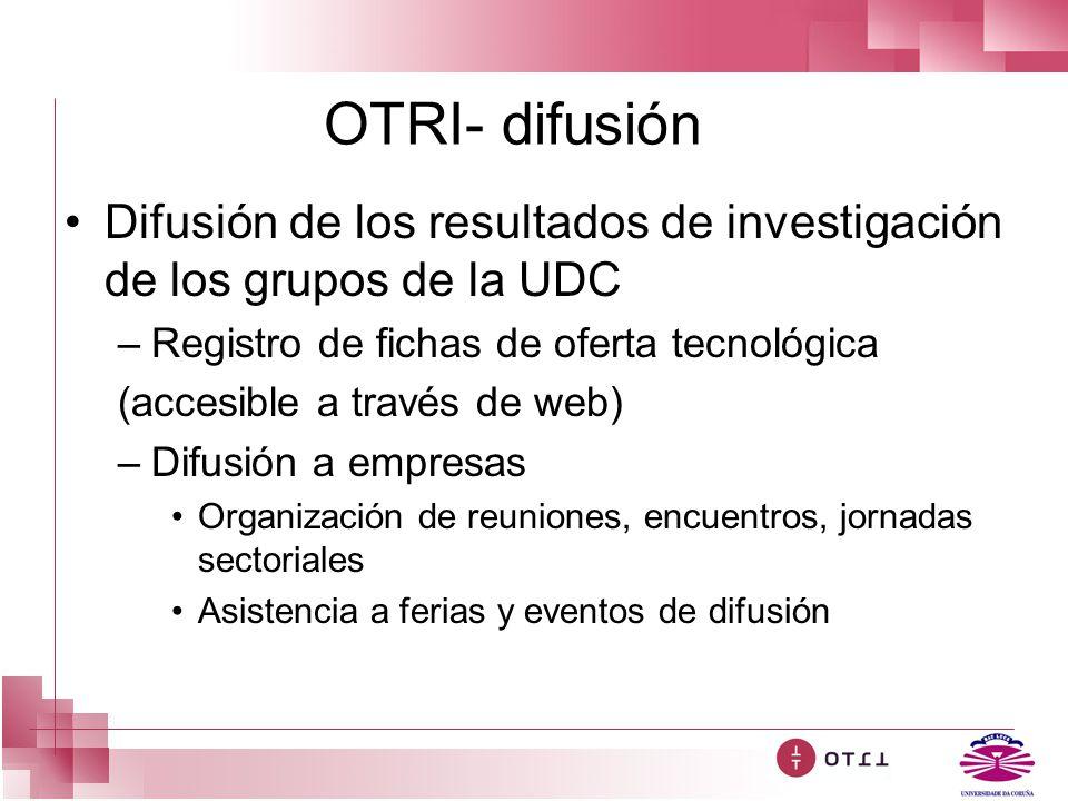 OTRI- difusión Difusión de los resultados de investigación de los grupos de la UDC. Registro de fichas de oferta tecnológica.