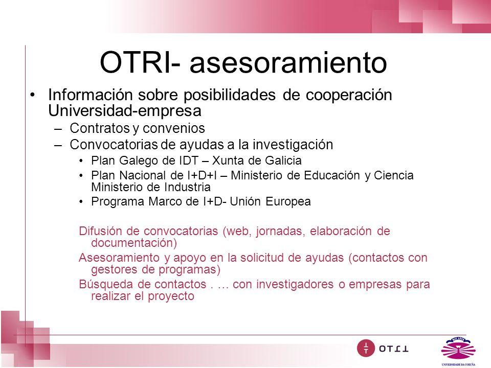 OTRI- asesoramiento Información sobre posibilidades de cooperación Universidad-empresa. Contratos y convenios.