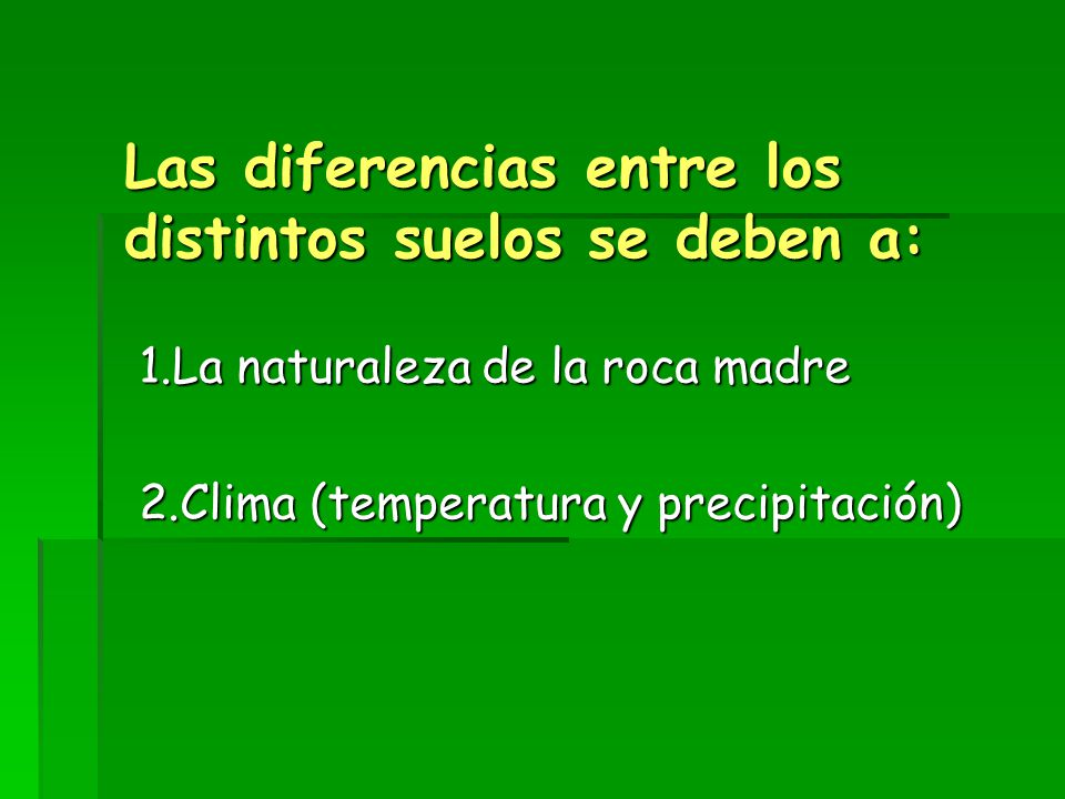 Las diferencias entre los distintos suelos se deben a: