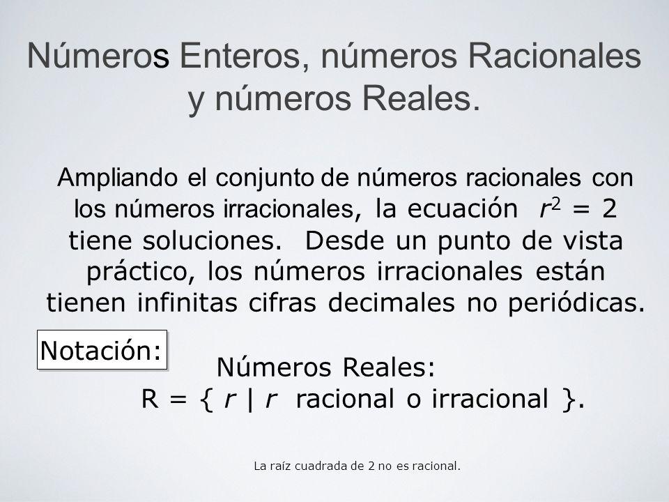 Números Enteros, números Racionales y números Reales.