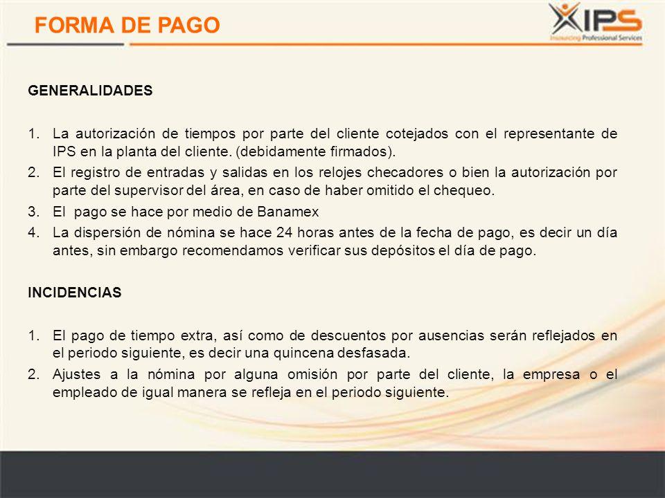 FORMA DE PAGO GENERALIDADES