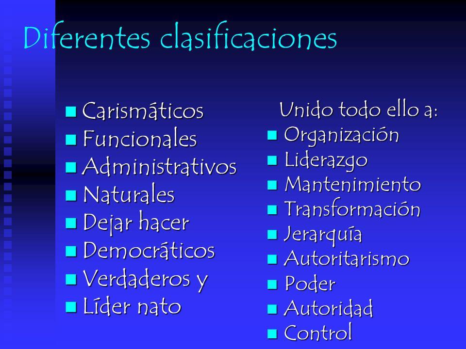 Diferentes clasificaciones