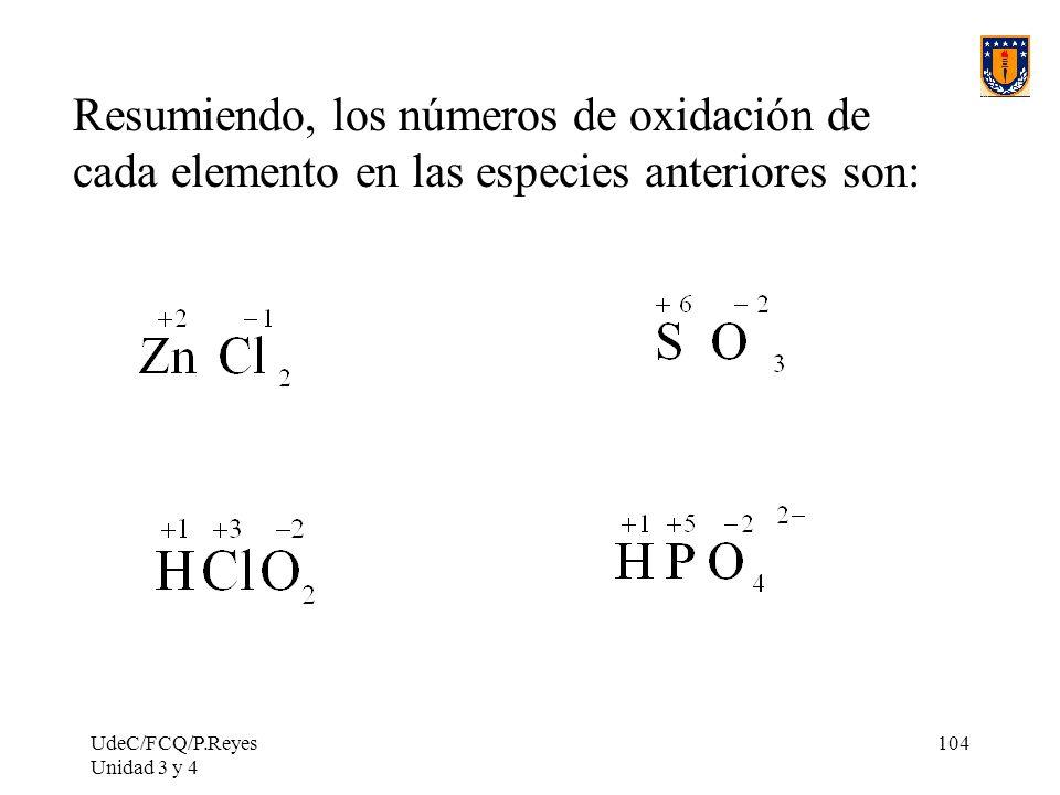 Resumiendo, los números de oxidación de cada elemento en las especies anteriores son: