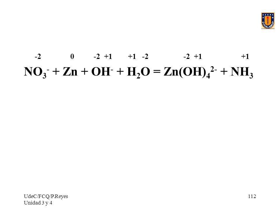 NO3- + Zn + OH- + H2O = Zn(OH)42- + NH3