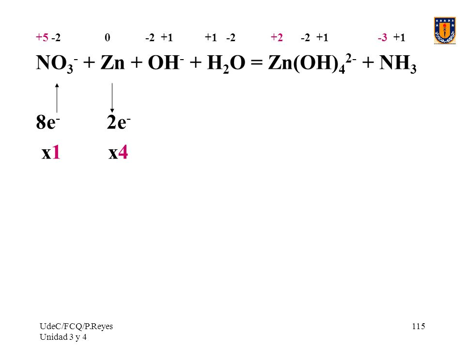 NO3- + Zn + OH- + H2O = Zn(OH)42- + NH3 8e- 2e- x1 x4