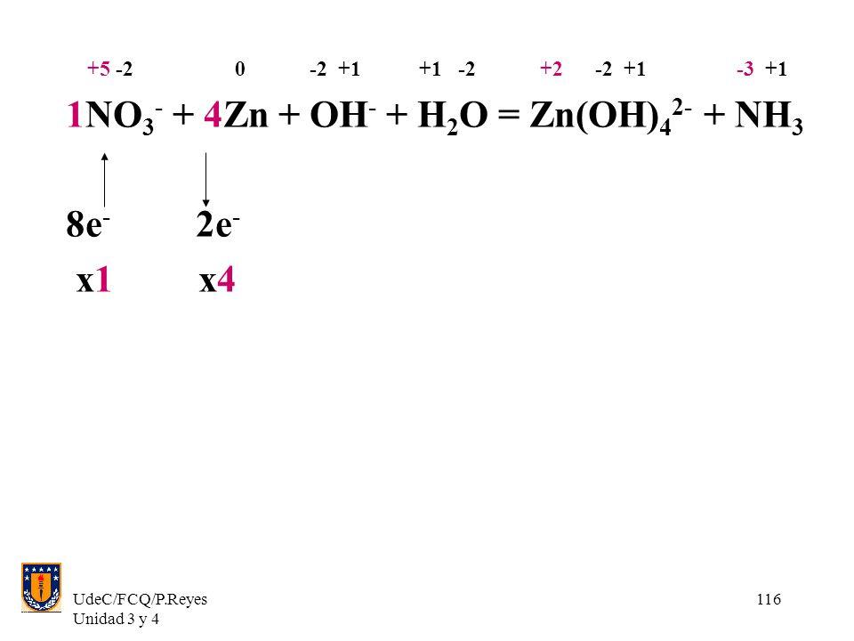 1NO3- + 4Zn + OH- + H2O = Zn(OH)42- + NH3 8e- 2e- x1 x4