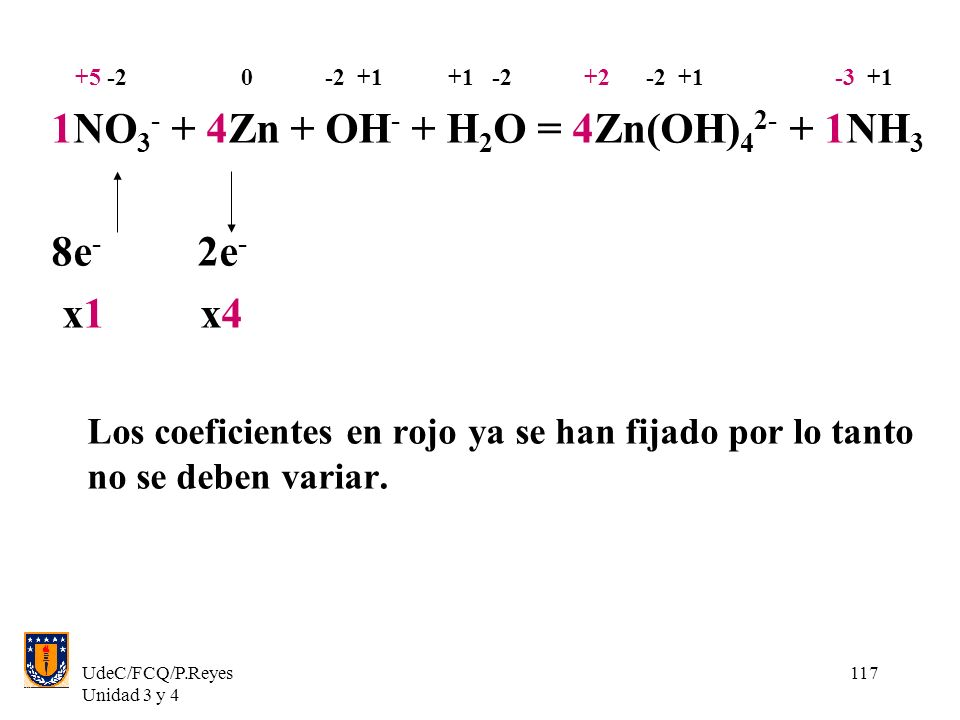 1NO3- + 4Zn + OH- + H2O = 4Zn(OH)42- + 1NH3 8e- 2e- x1 x4