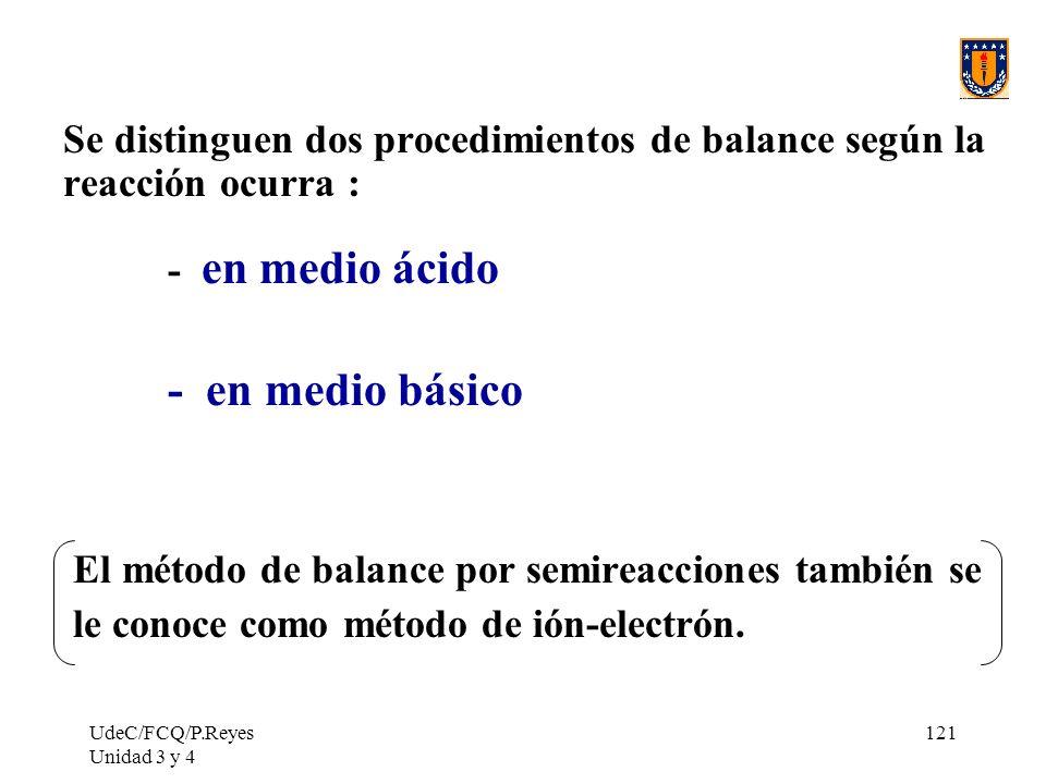 Se distinguen dos procedimientos de balance según la reacción ocurra :