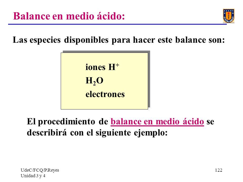 Balance en medio ácido: