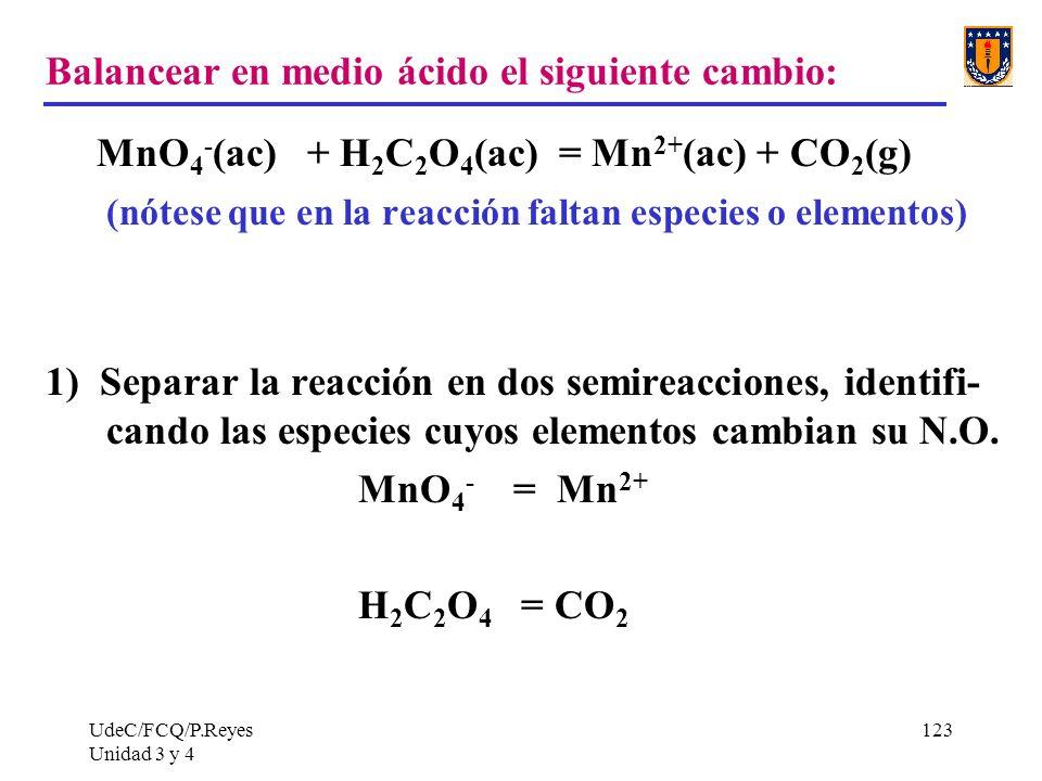Balancear en medio ácido el siguiente cambio: