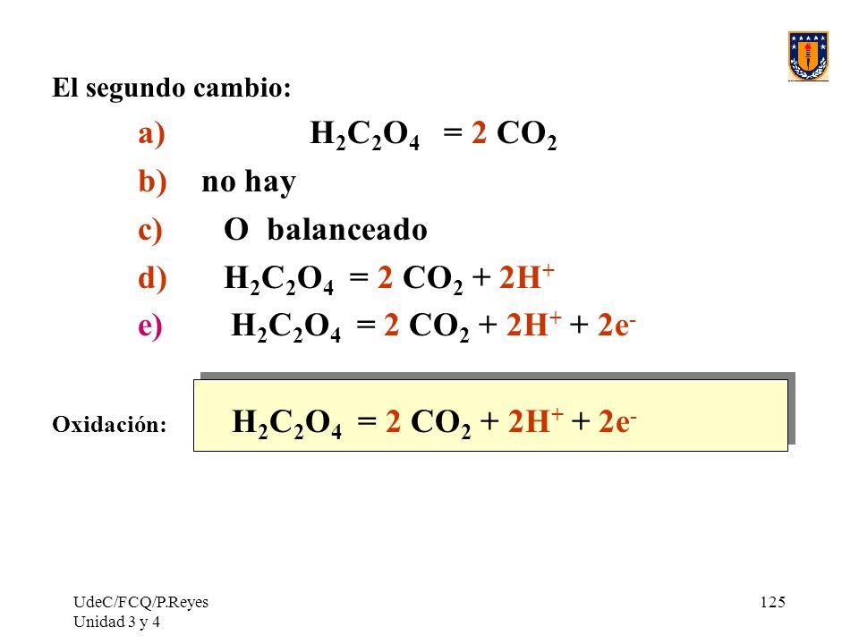 a) H2C2O4 = 2 CO2 b) no hay c) O balanceado d) H2C2O4 = 2 CO2 + 2H+