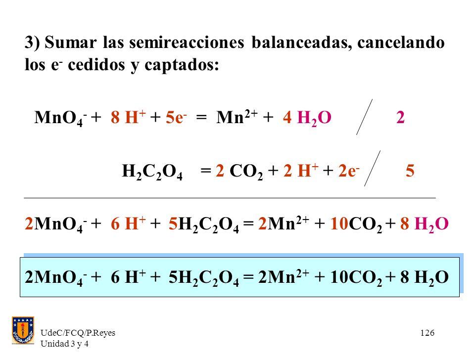 2MnO4- + 6 H+ + 5H2C2O4 = 2Mn2+ + 10CO2 + 8 H2O