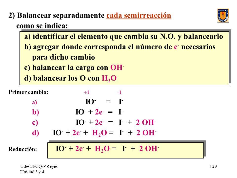 2) Balancear separadamente cada semirreacción como se indica: