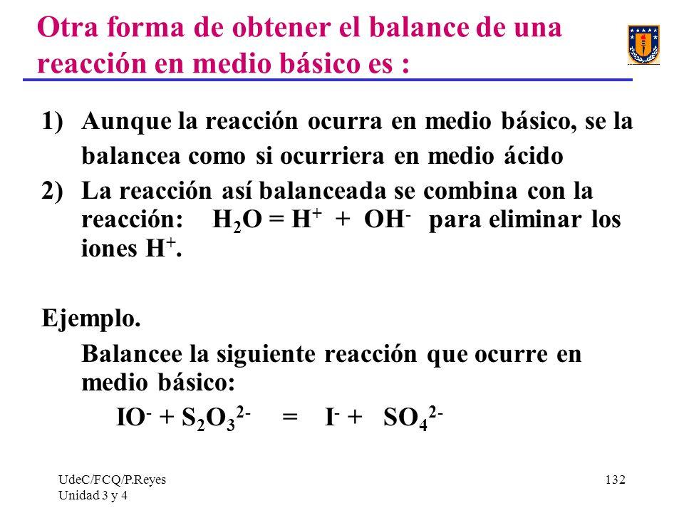 Otra forma de obtener el balance de una reacción en medio básico es :