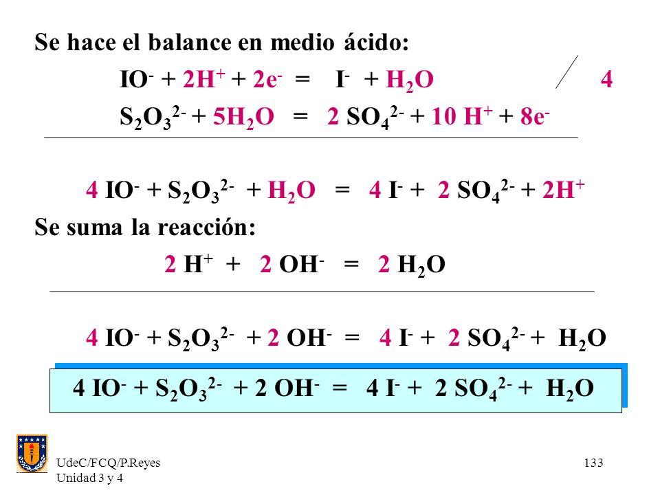Se hace el balance en medio ácido: IO- + 2H+ + 2e- = I- + H2O 4