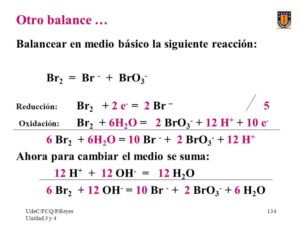 Otro balance … Balancear en medio básico la siguiente reacción: