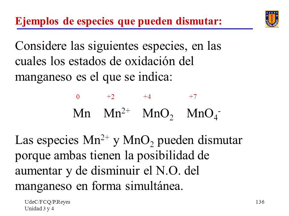 Ejemplos de especies que pueden dismutar: