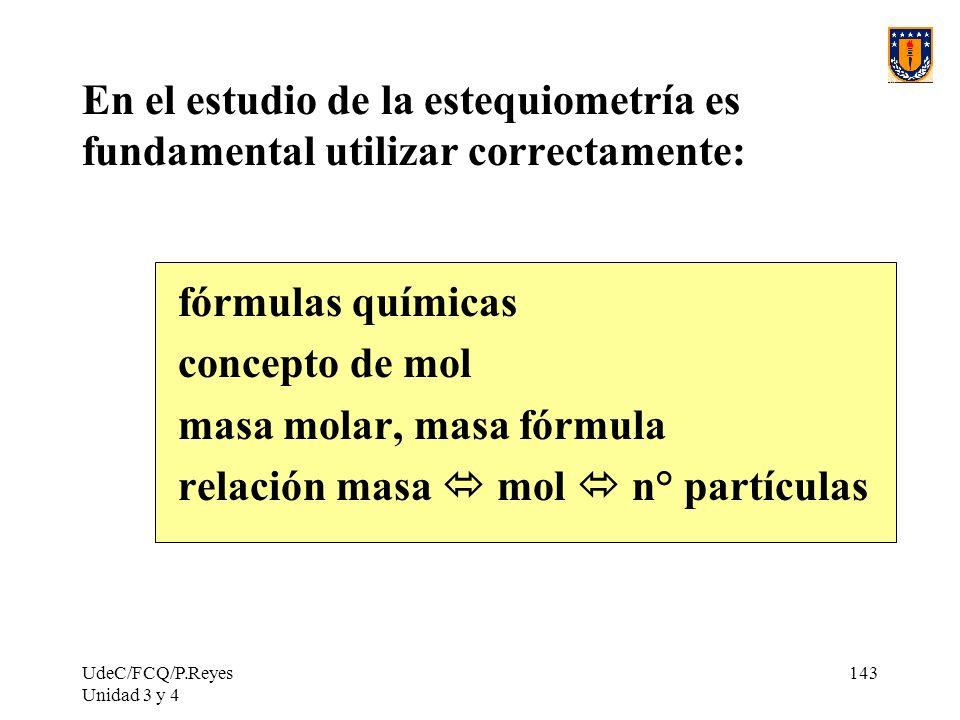 masa molar, masa fórmula relación masa  mol  n° partículas