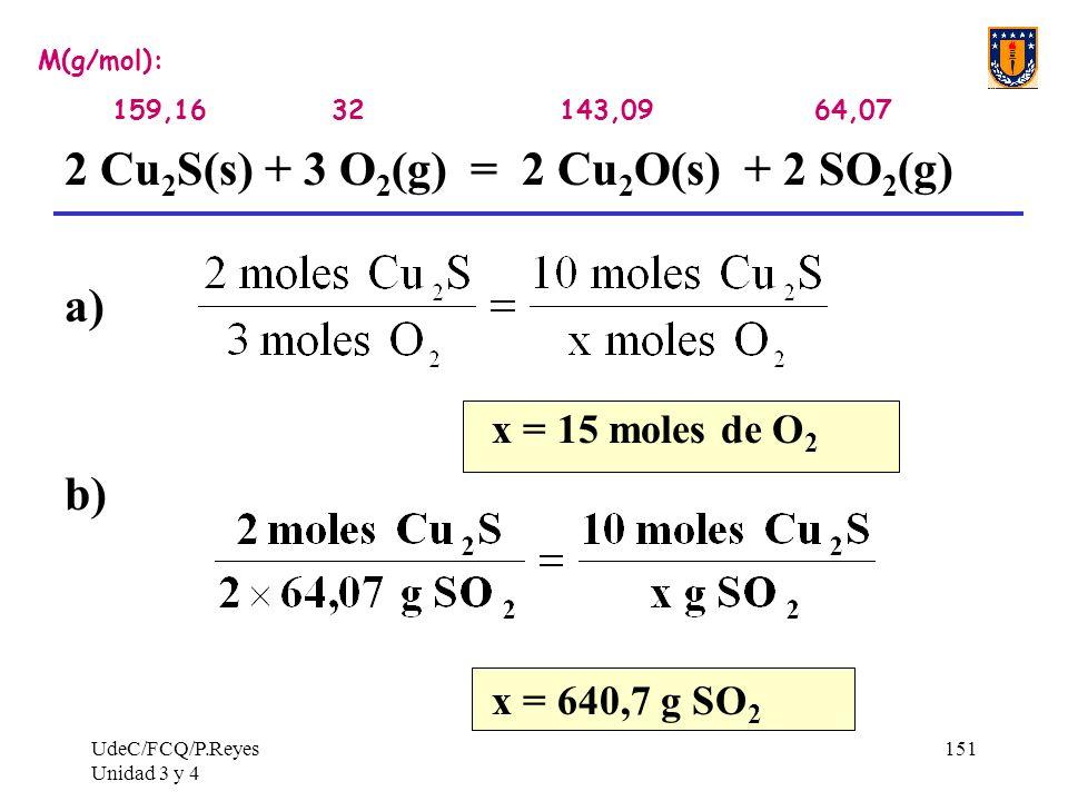 2 Cu2S(s) + 3 O2(g) = 2 Cu2O(s) + 2 SO2(g) a)