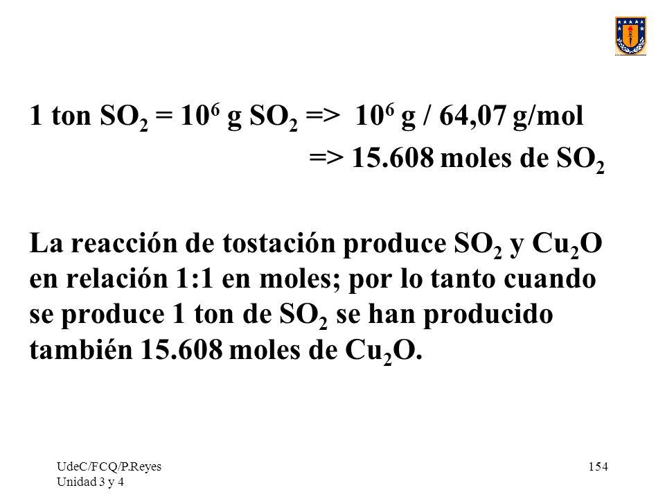 1 ton SO2 = 106 g SO2 => 106 g / 64,07 g/mol