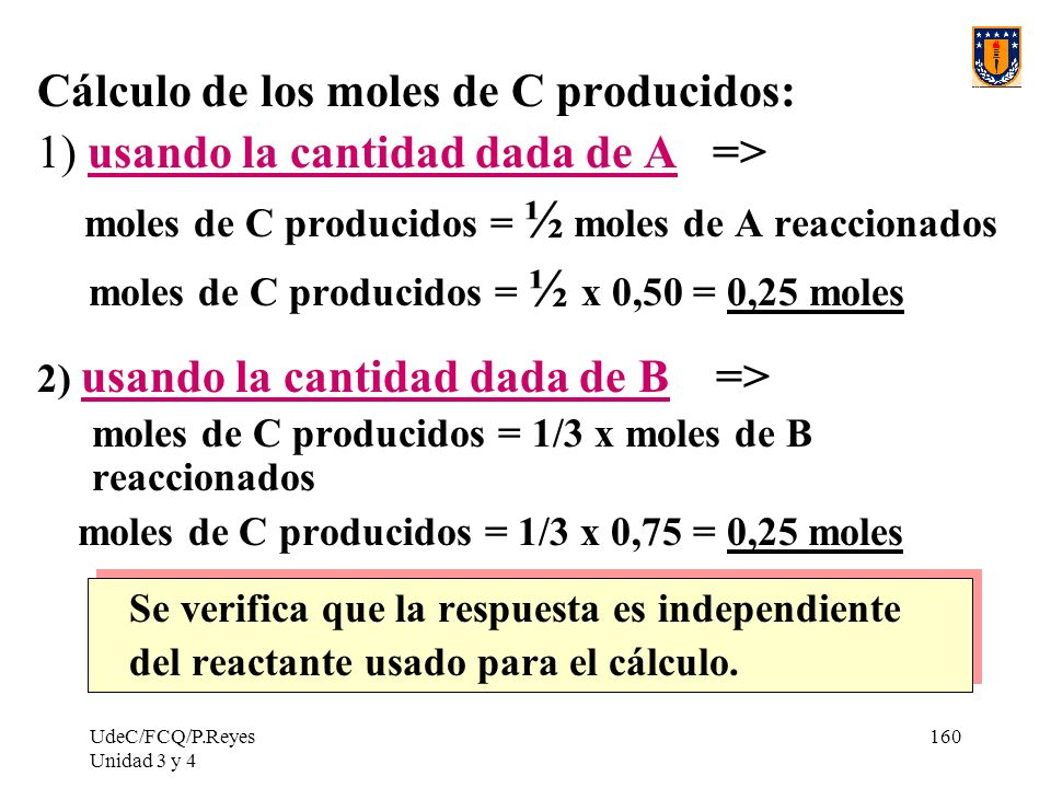 Cálculo de los moles de C producidos: