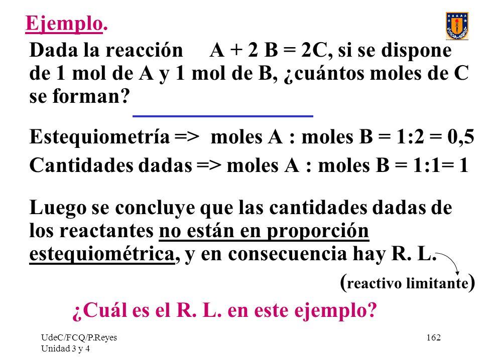 Estequiometría => moles A : moles B = 1:2 = 0,5