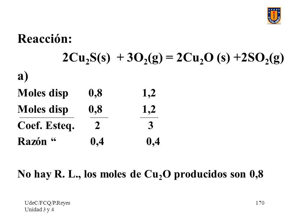 2Cu2S(s) + 3O2(g) = 2Cu2O (s) +2SO2(g) a)