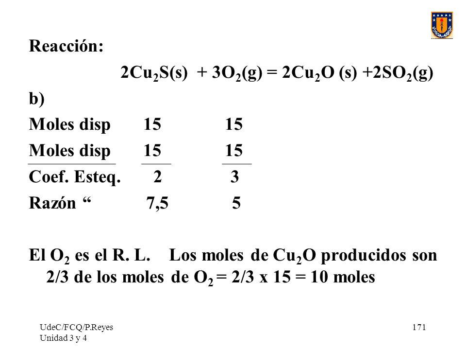 2Cu2S(s) + 3O2(g) = 2Cu2O (s) +2SO2(g) b) Moles disp 15 15