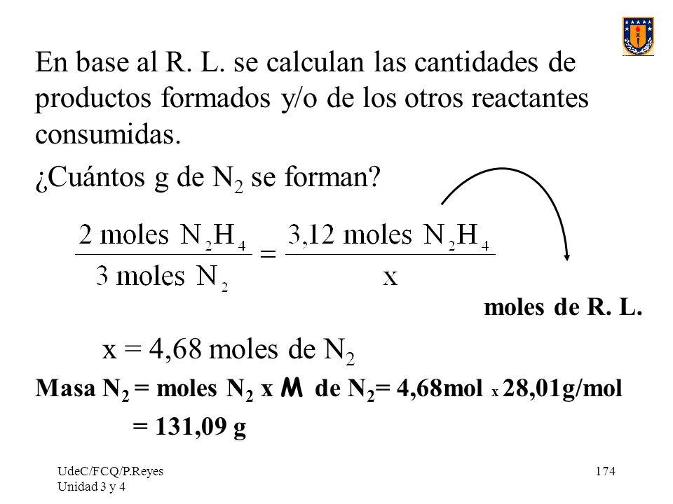 ¿Cuántos g de N2 se forman