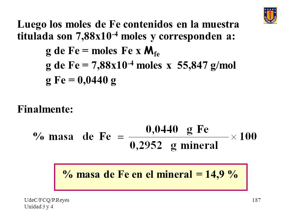 % masa de Fe en el mineral = 14,9 %