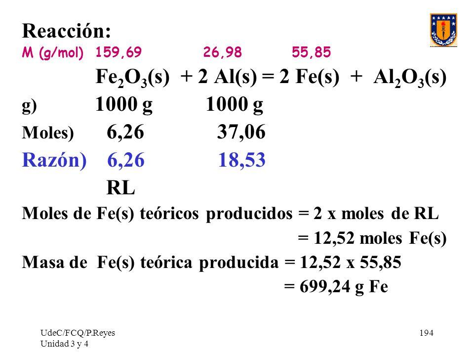 Fe2O3(s) + 2 Al(s) = 2 Fe(s) + Al2O3(s)