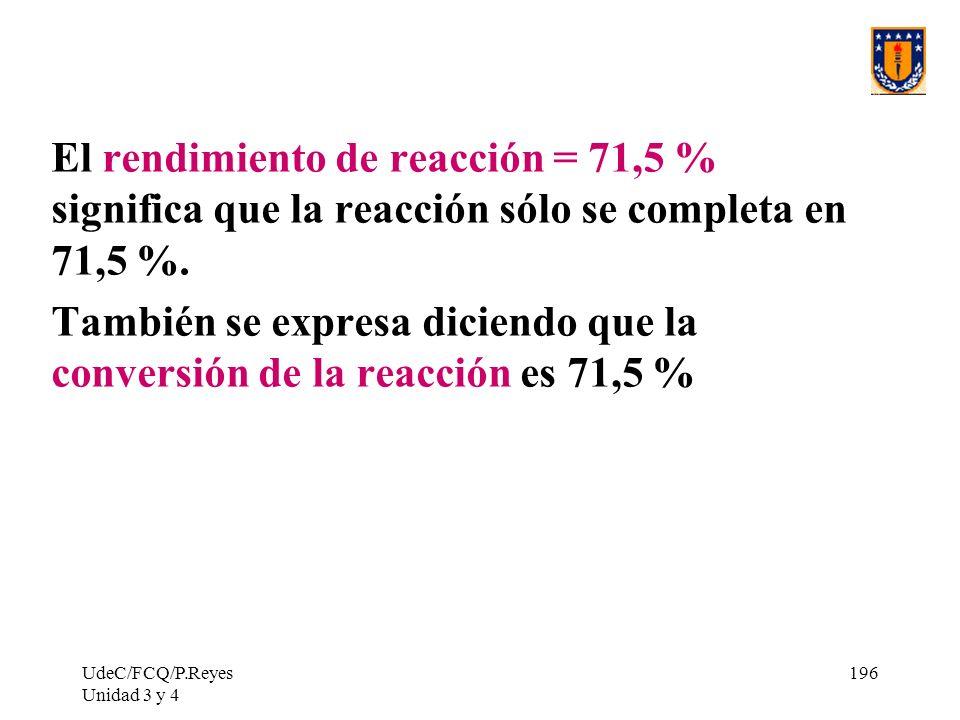 También se expresa diciendo que la conversión de la reacción es 71,5 %