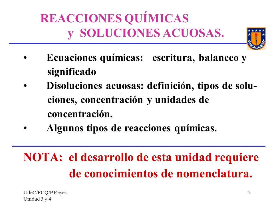 REACCIONES QUÍMICAS y SOLUCIONES ACUOSAS.