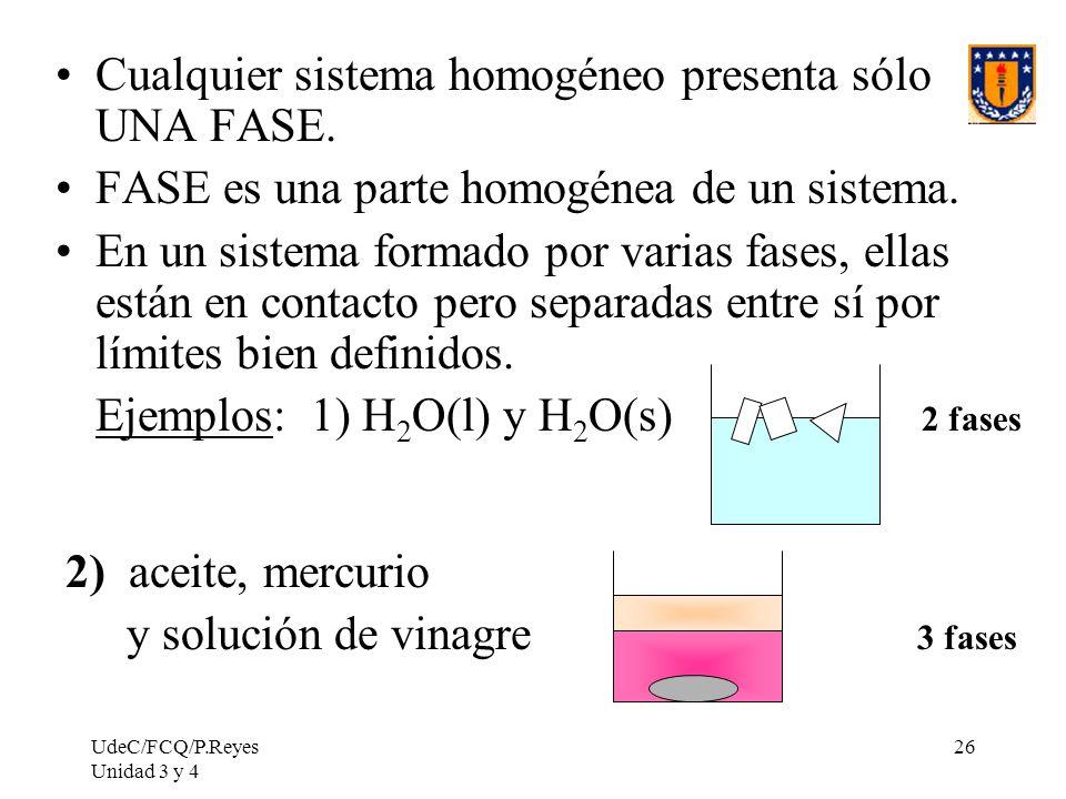 Cualquier sistema homogéneo presenta sólo UNA FASE.