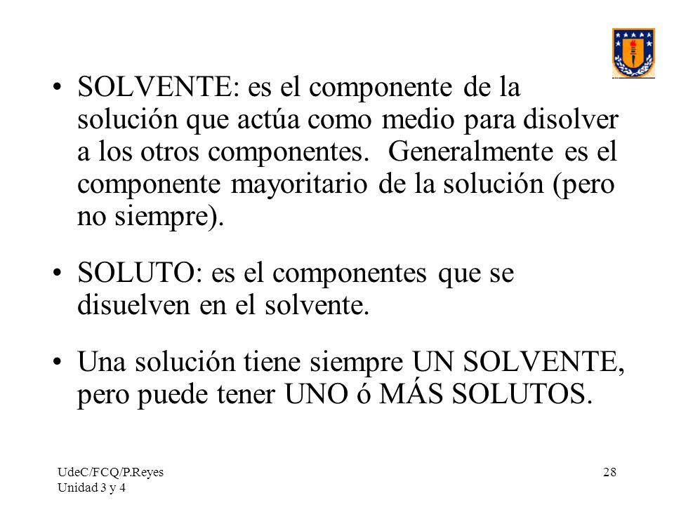 SOLUTO: es el componentes que se disuelven en el solvente.