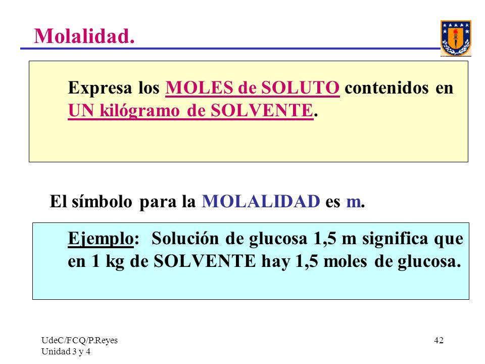 Molalidad. El símbolo para la MOLALIDAD es m.