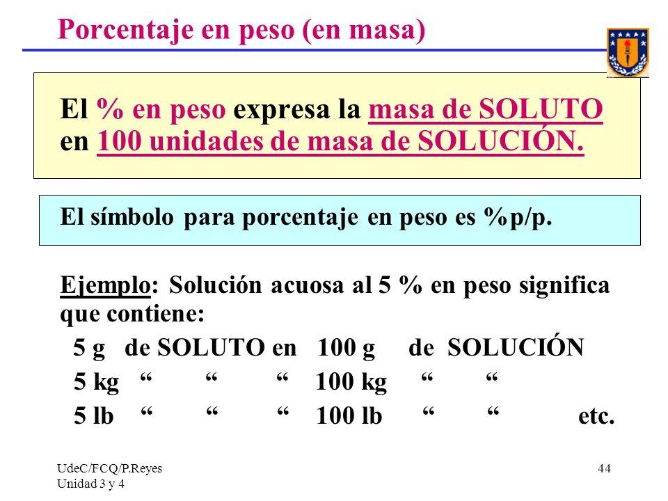Porcentaje en peso (en masa)