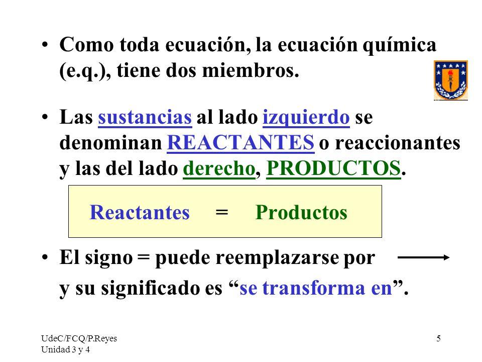 Como toda ecuación, la ecuación química (e.q.), tiene dos miembros.