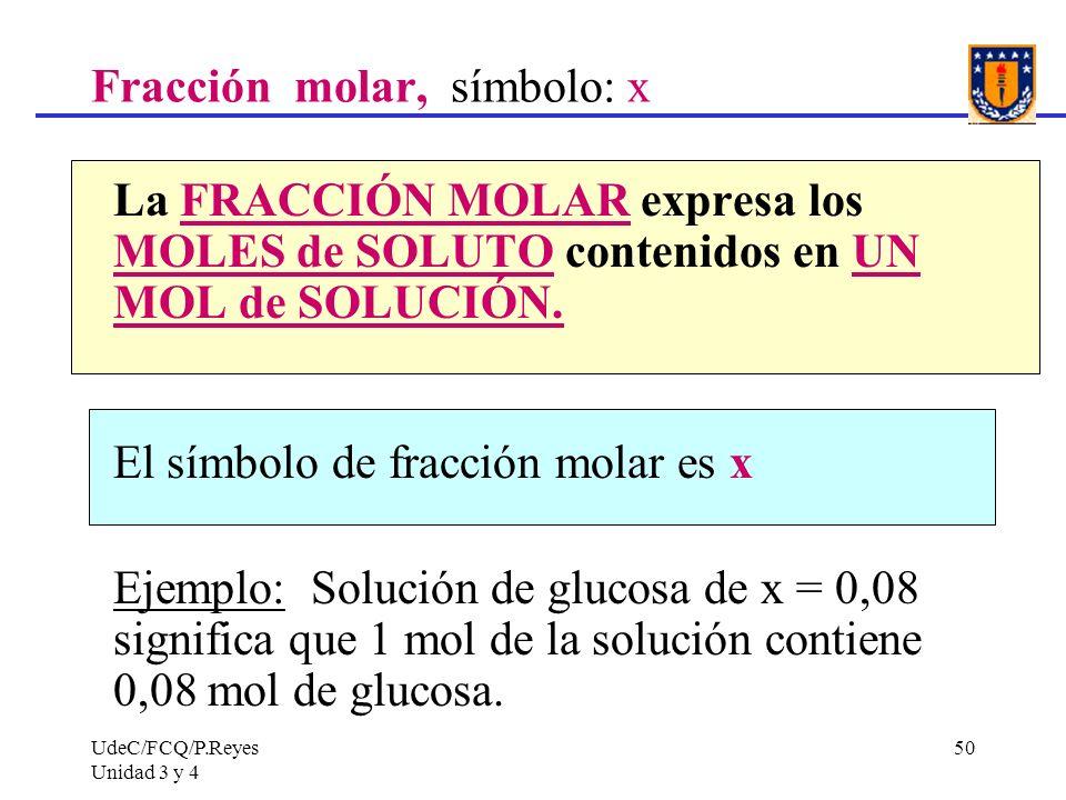Fracción molar, símbolo: x