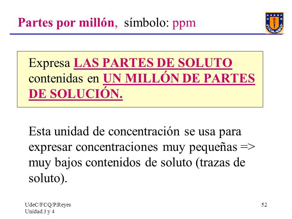 Partes por millón, símbolo: ppm