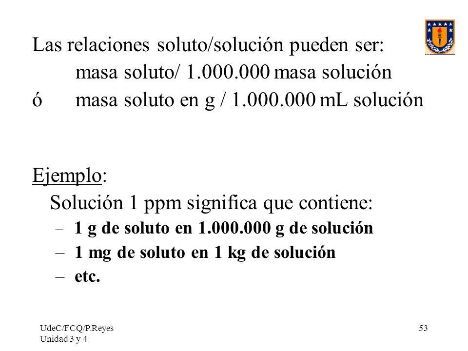 Las relaciones soluto/solución pueden ser: