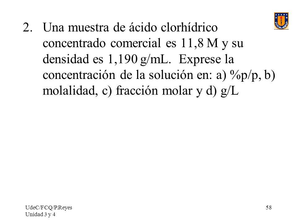 Una muestra de ácido clorhídrico concentrado comercial es 11,8 M y su densidad es 1,190 g/mL. Exprese la concentración de la solución en: a) %p/p, b) molalidad, c) fracción molar y d) g/L