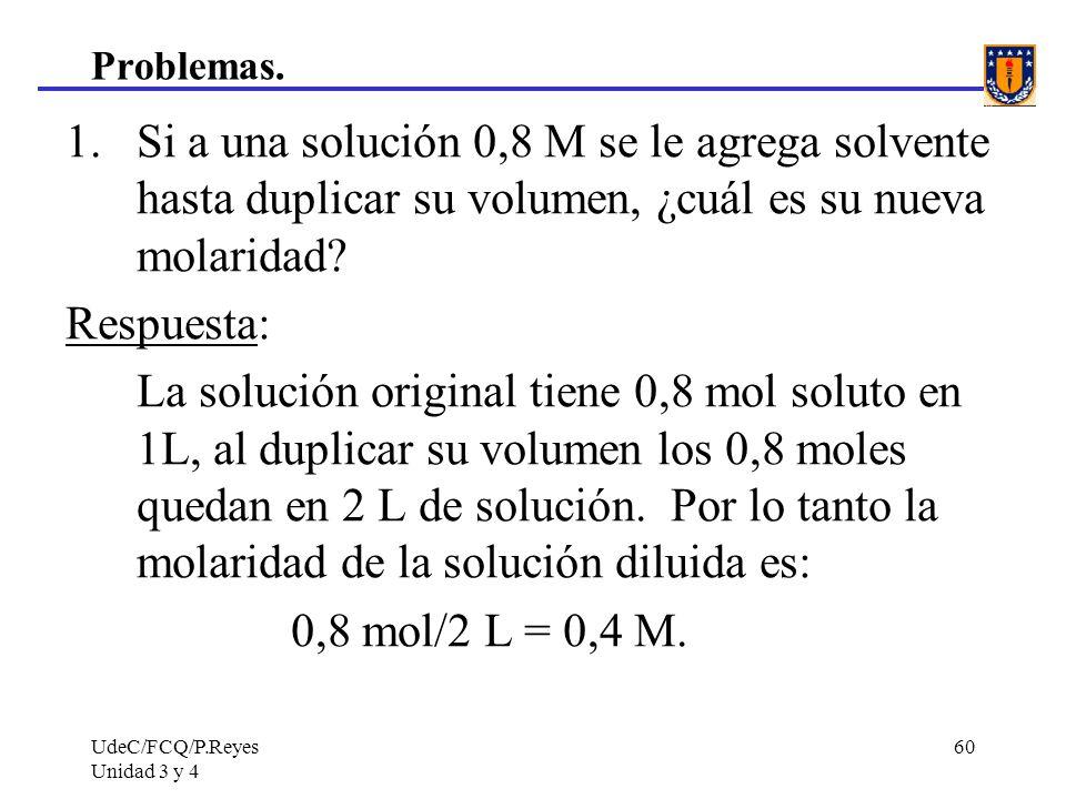 Problemas. Si a una solución 0,8 M se le agrega solvente hasta duplicar su volumen, ¿cuál es su nueva molaridad